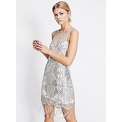 Miss Selfridge - Silver fringe embellished yoke mini dress