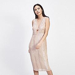 Miss Selfridge - Nude beaded midi dress