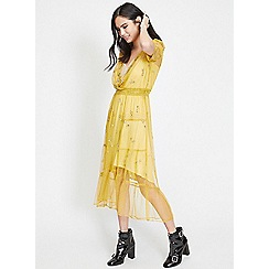Miss Selfridge - Yellow embellished lace slip dress