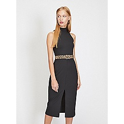 724c29c2ec Miss Selfridge - Black ribbed high neck pencil dress