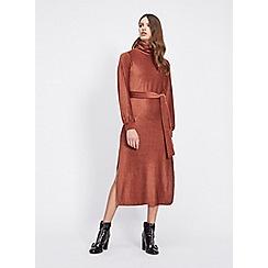 Miss Selfridge - Rust velvet high neck midi dress