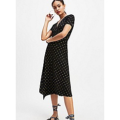 Miss Selfridge - Black and Yellow Pindot Print Shirred Midi Tea Dress