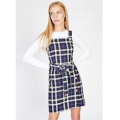 Miss Selfridge - Blue check tie waist pinafore dress