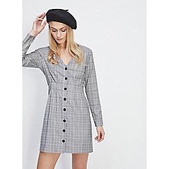 Miss Selfridge - Grey check pintuck button mini dress