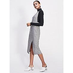 Miss Selfridge - Check midi pinafore dress