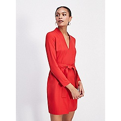 Miss Selfridge - Long sleeve self belt shift dress