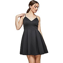 Miss Selfridge - Black scuba fit and flare mini dress