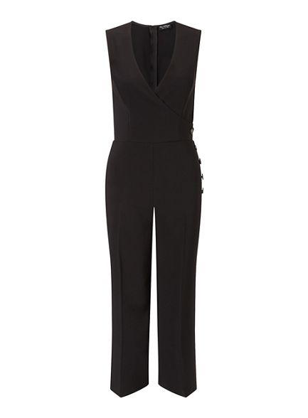 Selfridge side Black Miss jumpsuit button culotte YcSdBW4wq