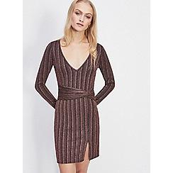 Miss Selfridge - Bronze glitter mini dress