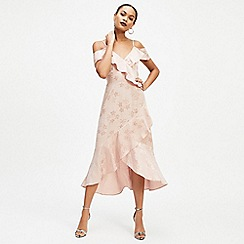 Miss Selfridge - Pale pink jacquard cold shoulder skater dress