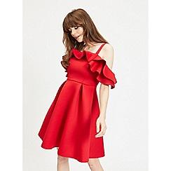 Miss Selfridge - Red cold shoulder scuba skater dress
