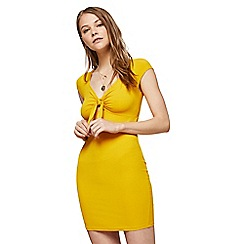 Miss Selfridge - Yellow bunny tie ribbed bodycon dress