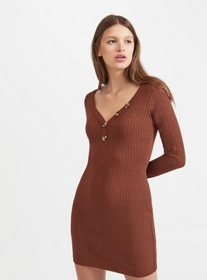 Miss Selfridge   Button Rib Bodycon Dress by Miss Selfridge