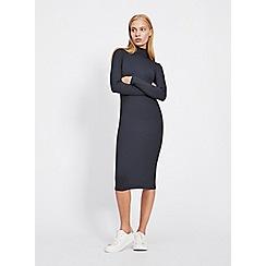 Miss Selfridge - Navy high neck tube midi shift dress