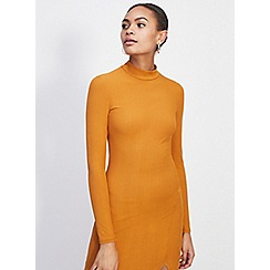 Miss Selfridge - Ochre rib split maxi dress