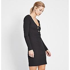 Miss Selfridge - Black button rib bodycon dress