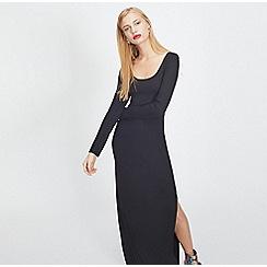 Miss Selfridge - Black scoop neck split maxi dress