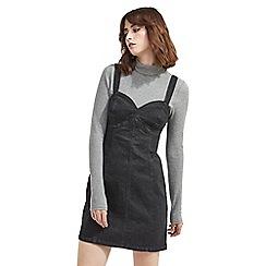 Miss Selfridge - Black sweetheart mini denim dress