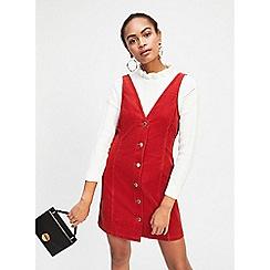 Miss Selfridge - Rust corduroy v-neck pinafore dress