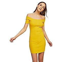 Miss Selfridge - Yellow bardot ribbed button bodycon dress