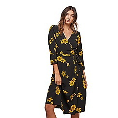 Miss Selfridge - Ochre floral wrap midi dress