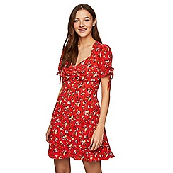 Miss Selfridge - Red floral rouched tea dress