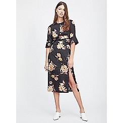Miss Selfridge - Floral jacquard twisted midi dress