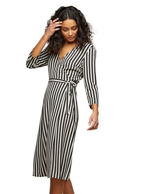 Miss Selfridge   Stripe Wrap Midi Dress by Miss Selfridge
