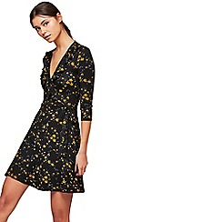 Miss Selfridge - Ochre floral print wrap dress
