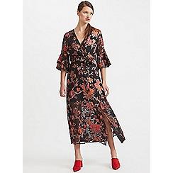 Miss Selfridge - Black burnout floral maxi dress
