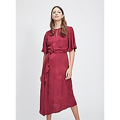 Miss Selfridge - Berry jacquard buckle midi dress