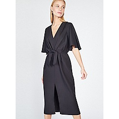 Miss Selfridge - Black tie front midi dress