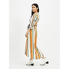 Miss Selfridge - Multi Colour Stripe Wrap Midi Tea Dress