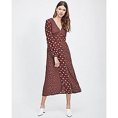 Miss Selfridge - Chocolate spotted midi dress