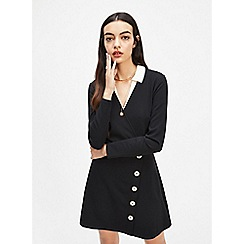 12a3788f03 Miss Selfridge - Black Ribbed Button Mini Fit and Flare Dress