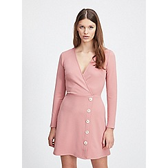 Miss Selfridge - Nude rib button fit and flare mini dress