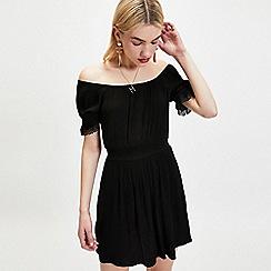 Miss Selfridge - Black ruched Bardot dress