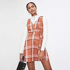 Miss Selfridge - Rust check d-ring pinafore dress