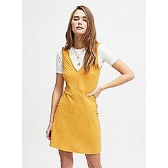 Miss Selfridge - Ochre Rib Pinafore Dress