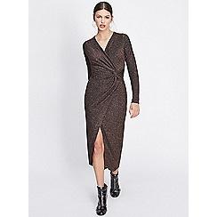 Miss Selfridge - Bronze lurex twist maxi dress