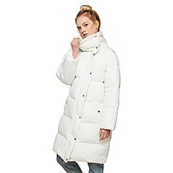 Miss Selfridge - White long puffer coat