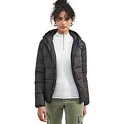 Miss Selfridge - Black faux fur trim puffer coat