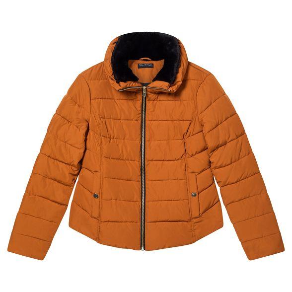 trim puffer Orange fur Miss faux coat Selfridge xnIXwqB
