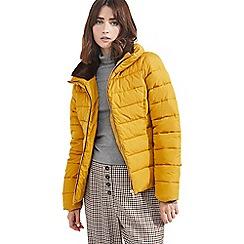 Miss Selfridge - Ochre faux fur trim puffer jacket