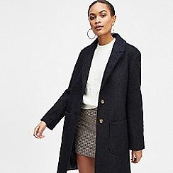 Miss Selfridge - Navy boucle pocket coat