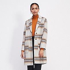 Miss Selfridge - Ivory brush check coat