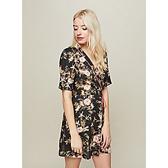 Miss Selfridge - Petite black floral playsuit
