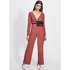 Miss Selfridge - Petite rust twist front jumpsuit