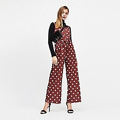 Miss Selfridge - Petite chocolate spot print jumpsuit