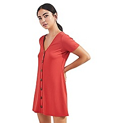 Miss Selfridge - Petite rust button front ribbed shift dress